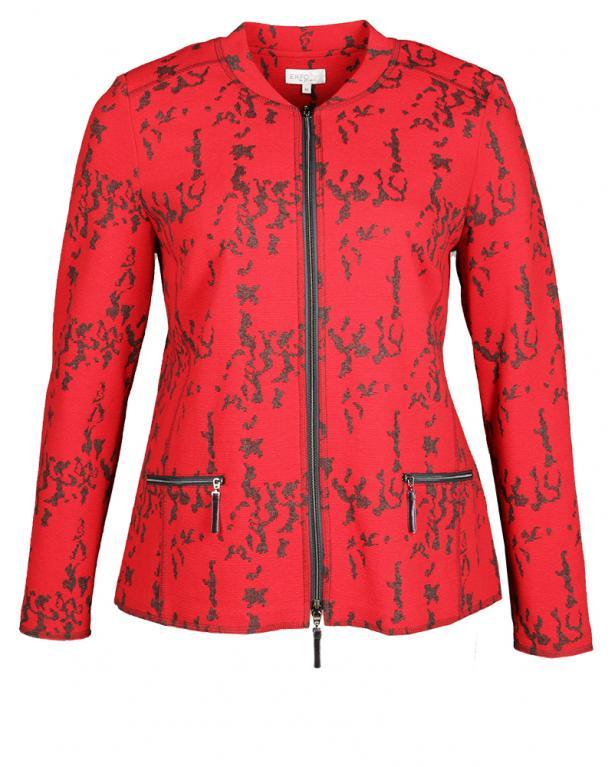 Erfo kurze Jaquard-Blusenjacke mit Zipper
