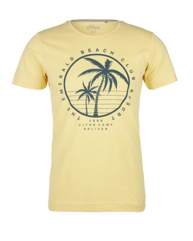 s.Oliver Beachprint-Shirt hellgelb | 5XL