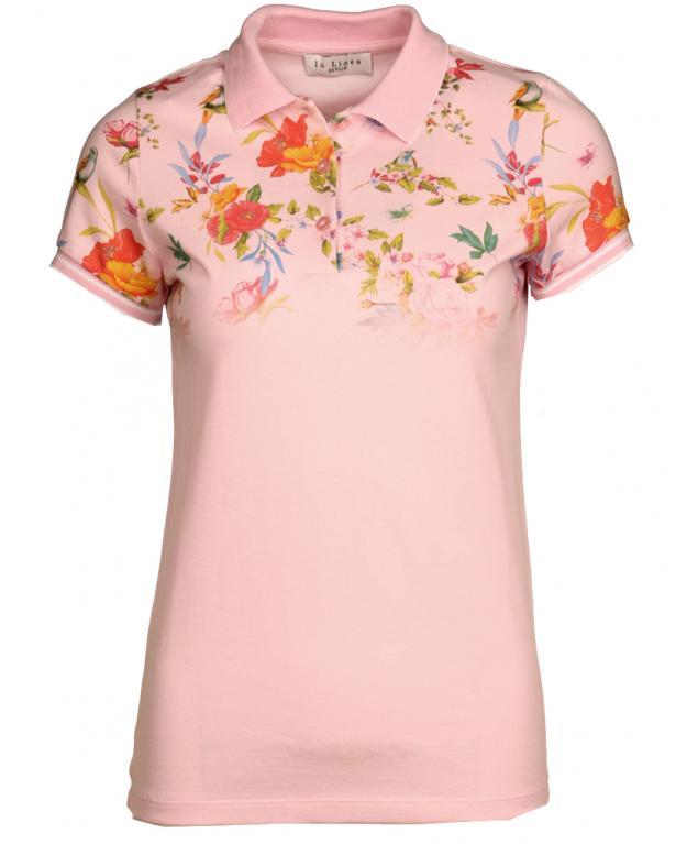 In Linea Piqué-Polo Shirt mit Floralprint rosa | 88