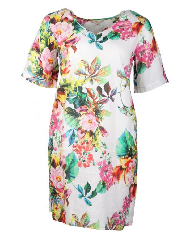 Clarina Leinenkleid mit Blumenprint