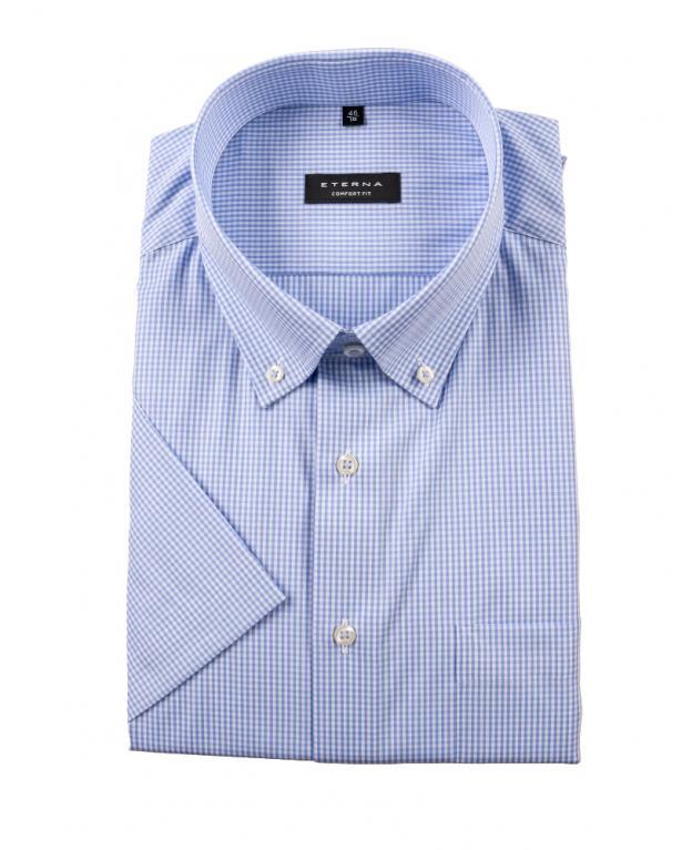 Eterna Kurzarm-Businesshemd mit Vichy-Karo, Comfort Fit