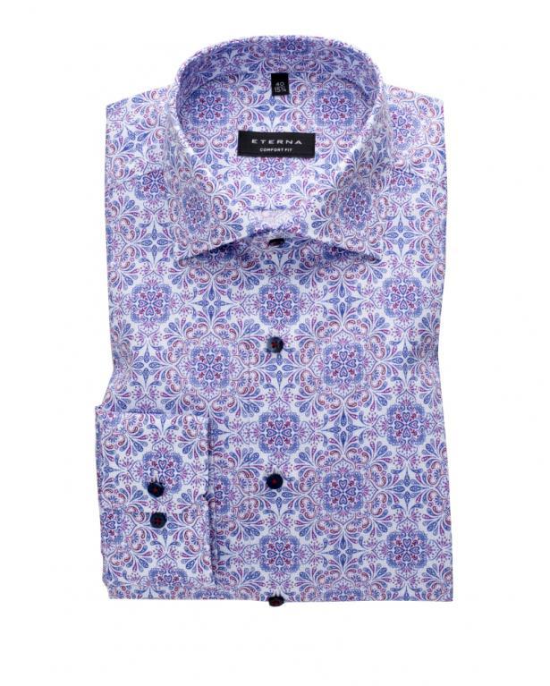 Eterna Popeline-Hemd mit Mosaikprint, Comfort Fit