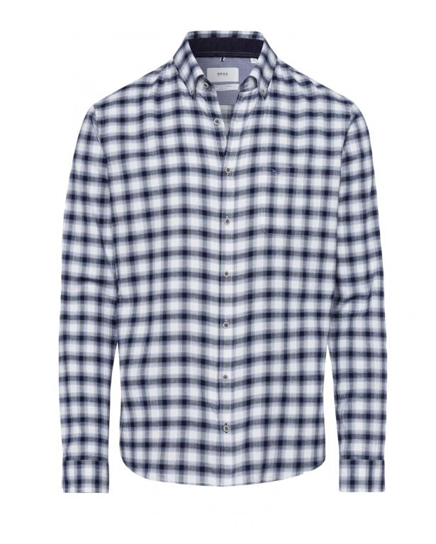 light flannel shirt with ellbow patches by brax in modern fit